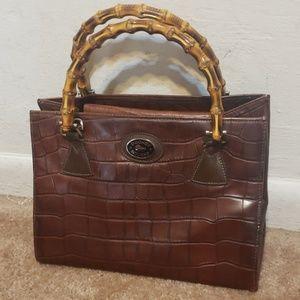 Dooney & Bourke Brown Leather Bamboo Croc Handbag